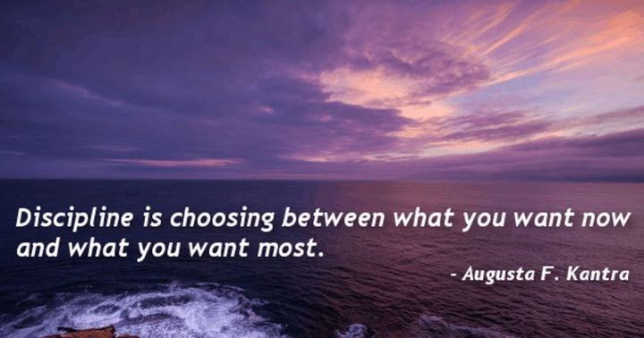 "51 Hard Work Quotes - ""Discipline is choosing between what you want now and what you want most."" - Augusta F. Kantra"