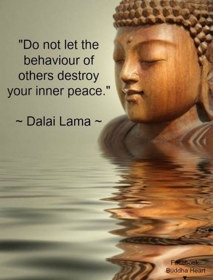 """59 Positive Memes - """"Do not let the behavior of others destroy your inner peace."""" - Dalai Lama"""