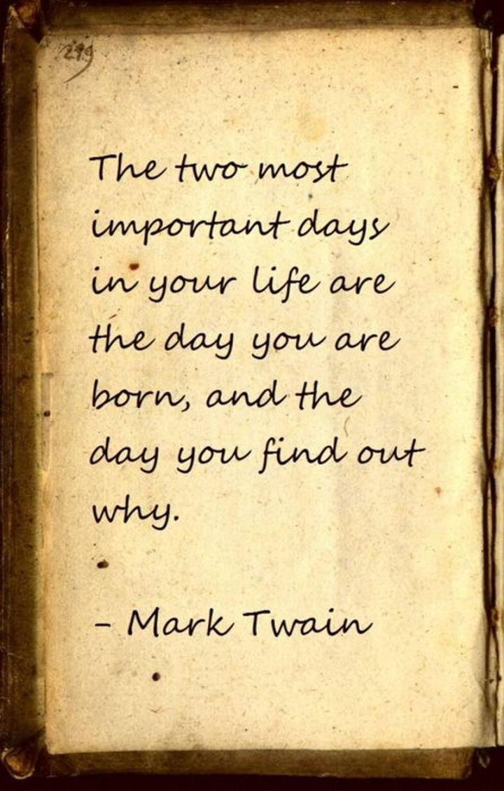 """59 Positive Memes - """"The two most important days in your life are the day you are born, and the day you find out why."""" - Mark Twain"""
