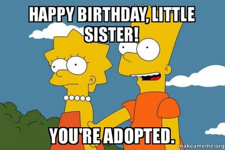 "91 Sister Birthday Memes - ""Happy birthday, little sister! You're adopted."""