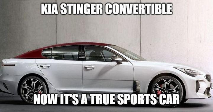 "85 Car Memes - ""Kia Stinger Convertible. Now it's a true sports car."""