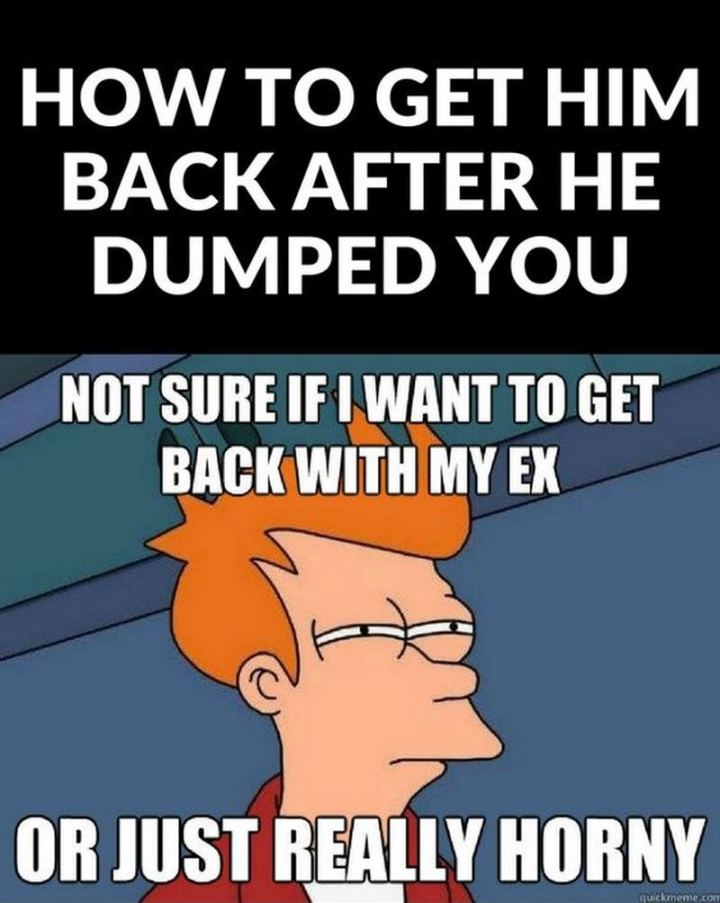 """65 Funny Dating Memes - """"How to get him back after he dumped you: Not sure if I want to get back with my ex or just really horny."""""""