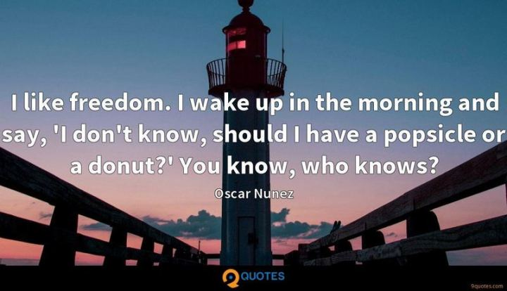 """75 Good Morning Quotes - """"I like the freedom. I wake up in the morning and say, 'I don't know, should I have a popsicle or a donut?' You know, who knows?"""" - Oscar Nunez"""