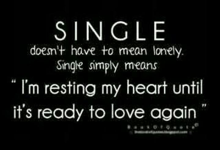 "67 Funny Single Memes - ""Single doesn't have to mean lonely. Single simply means, 'I'm resting my heart until it's ready to love again.'"""