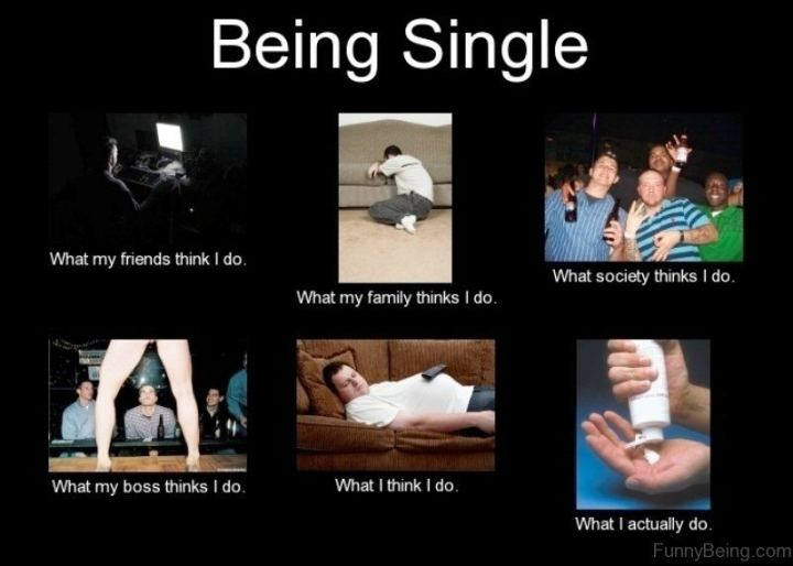 "67 Funny Single Memes - ""Being single. What my friends think I do. What my family thinks I do. What society thinks I do. What my boss thinks I do. What I think I do. What I actually do."""