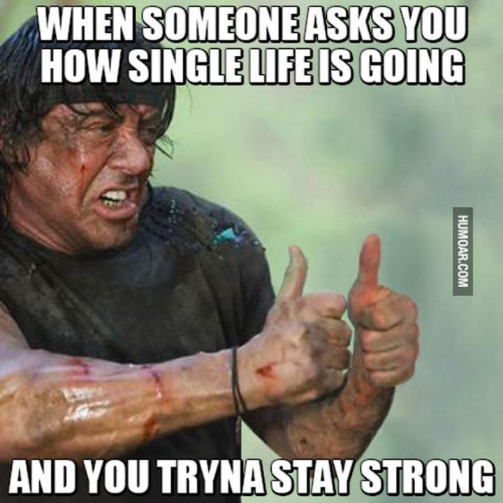 "67 Funny Single Memes - ""When someone asks you how single life is going and you tryna stay strong."""