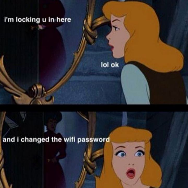 "51 Funny Disney Memes - ""I'm locking u in here. LOL ok. And I changed the wifi password."""