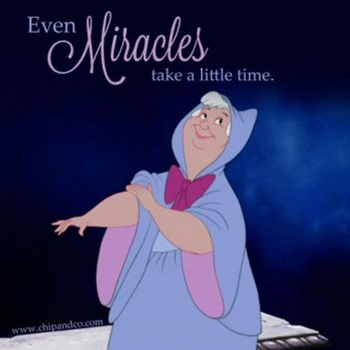 """61 Inspirational Disney Quotes - """"Even miracles take a little time."""" - Fairy Godmother"""