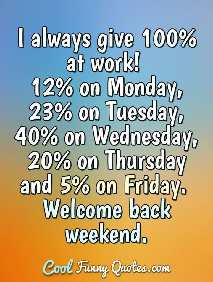 """47 Friday Quotes - """"I always give 100% at work: 12% on Monday, 23% on Tuesday, 40% on Wednesday, 20% on Thursday, and 5% on Friday. Welcome back weekend."""" - Anonymous"""