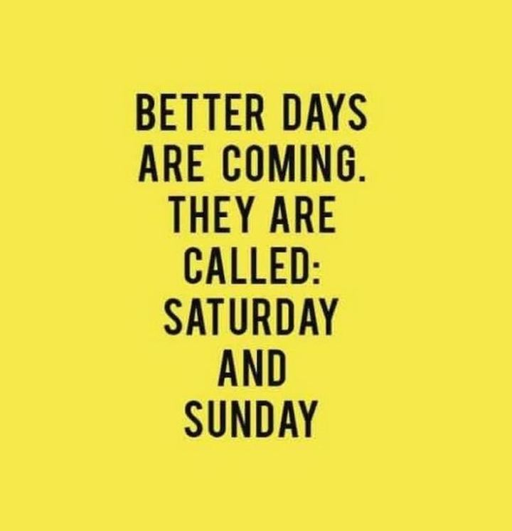 "101 Saturday Memes - ""Better days are coming. They are called: Saturday and Sunday."""
