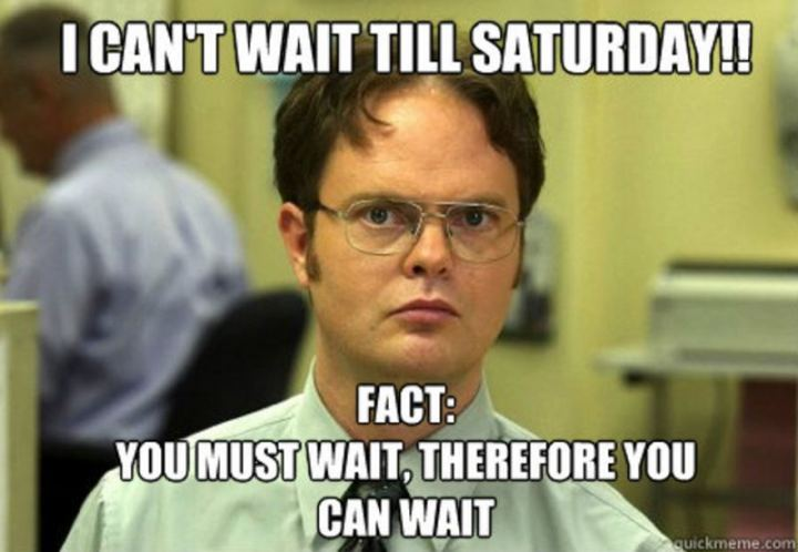 "101 Saturday Memes - ""I can't wait till Saturday!! Fact: You must wait, therefore you can wait."""