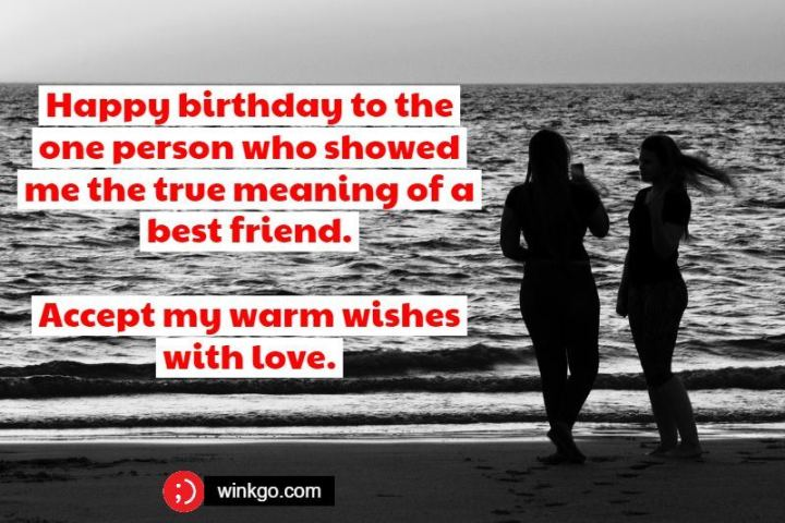 """43 Birthday Wishes For Friends - """"Happy birthday to the one person who showed me the true meaning of a best friend. Accept my warm wishes with love."""""""