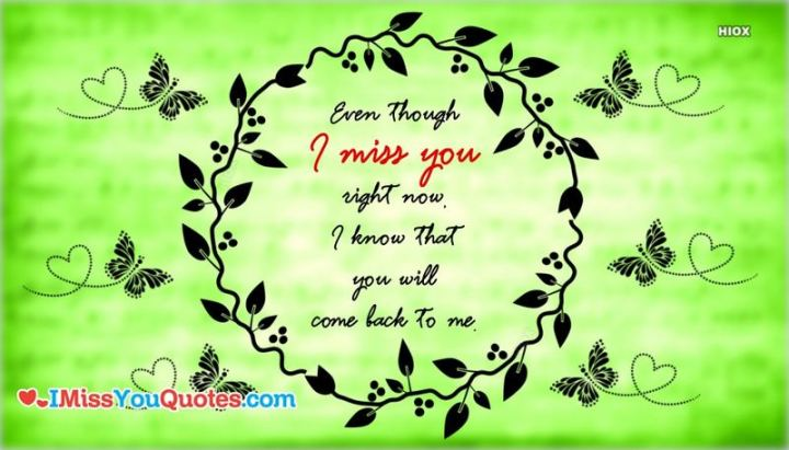 "45 I Miss You Quotes - ""Even though I miss you right now, I know that you will come back to me."" - Unknown"