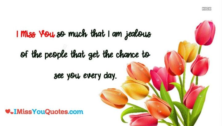 "45 I Miss You Quotes - ""I miss you so much that I am jealous of the people that get the chance to see you every day."" - Unknown"
