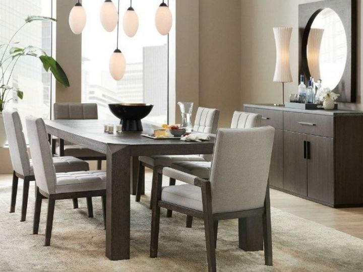 Amazing rectangular dining table that looks amazing and can seat a small crowd.