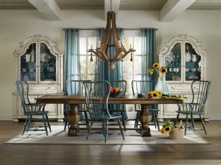 Rectangle dining table offers a choice to arrange extra seating options, which can come quite in handy when you are hosting a party.