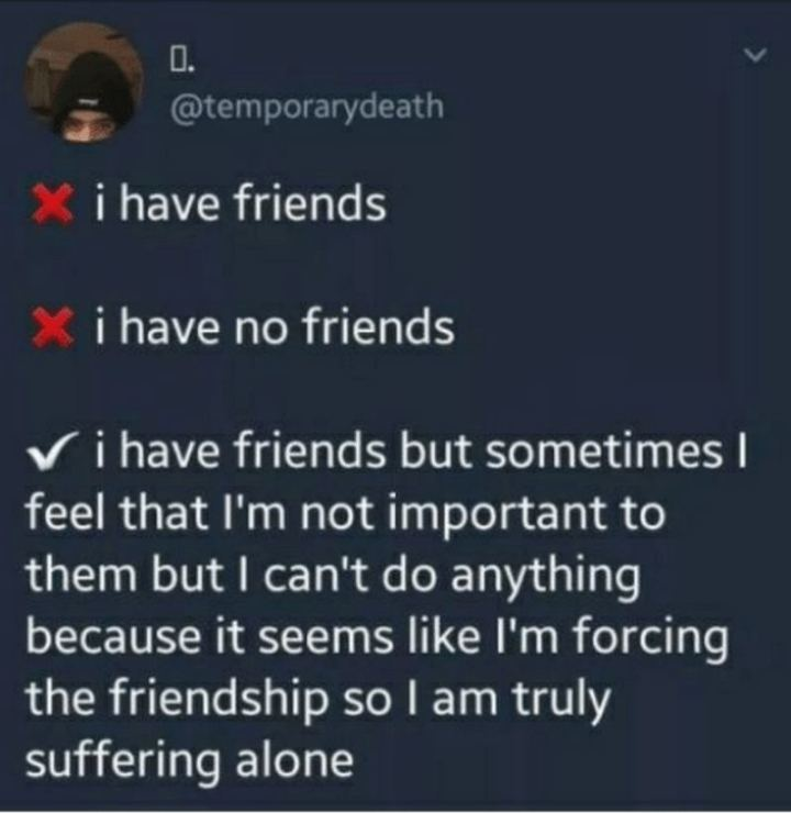 "53 Sad Memes - ""I have friends. I have no friends. I have friends but sometimes I feel that I'm not important to them but I can't do anything because it seems like I'm forcing the friendship so I am truly suffering alone."""