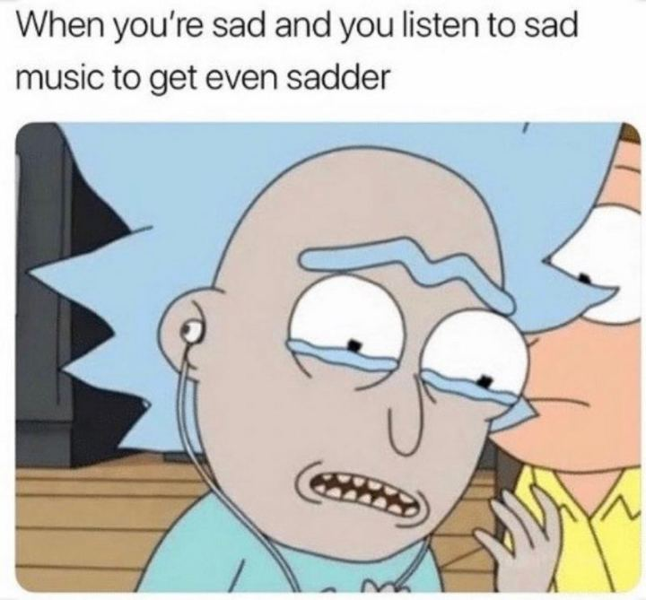 "53 Sad Memes - ""When you're sad and you listen to sad music to get even sadder."""