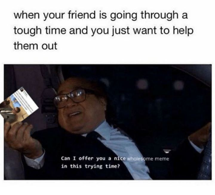 "53 Sad Memes - ""When your friend is going through a tough time and you just want to help them out. Can I offer you a nice wholesome meme in this trying time?"""