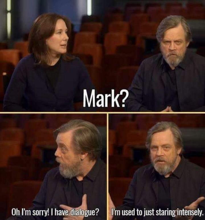 """61 Star Wars Memes - """"Mark? Oh, I'm sorry! I have dialogue? I'm used to just staring intensely."""""""
