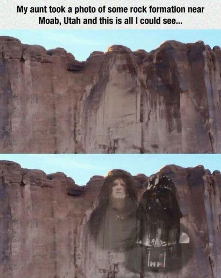 """61 Star Wars Memes - """"My aunt took a photo of some rock formation near Moab, Utah and this is all I could see."""""""
