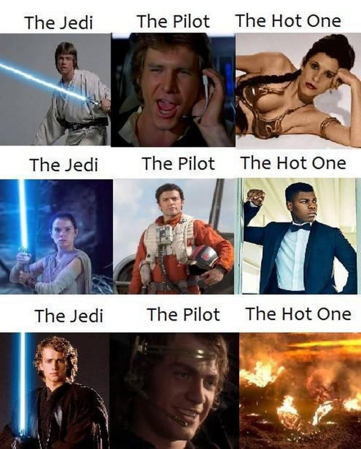 """61 Star Wars Memes - """"The Jedi. The pilot. The hot one."""""""
