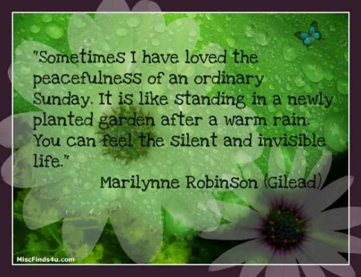 "47 Sunday Quotes - ""Sometimes I have loved the peacefulness of an ordinary Sunday. It is like standing in a newly planted garden after a warm rain. You can feel the silent and invisible life."" - Marilynne Robinson"