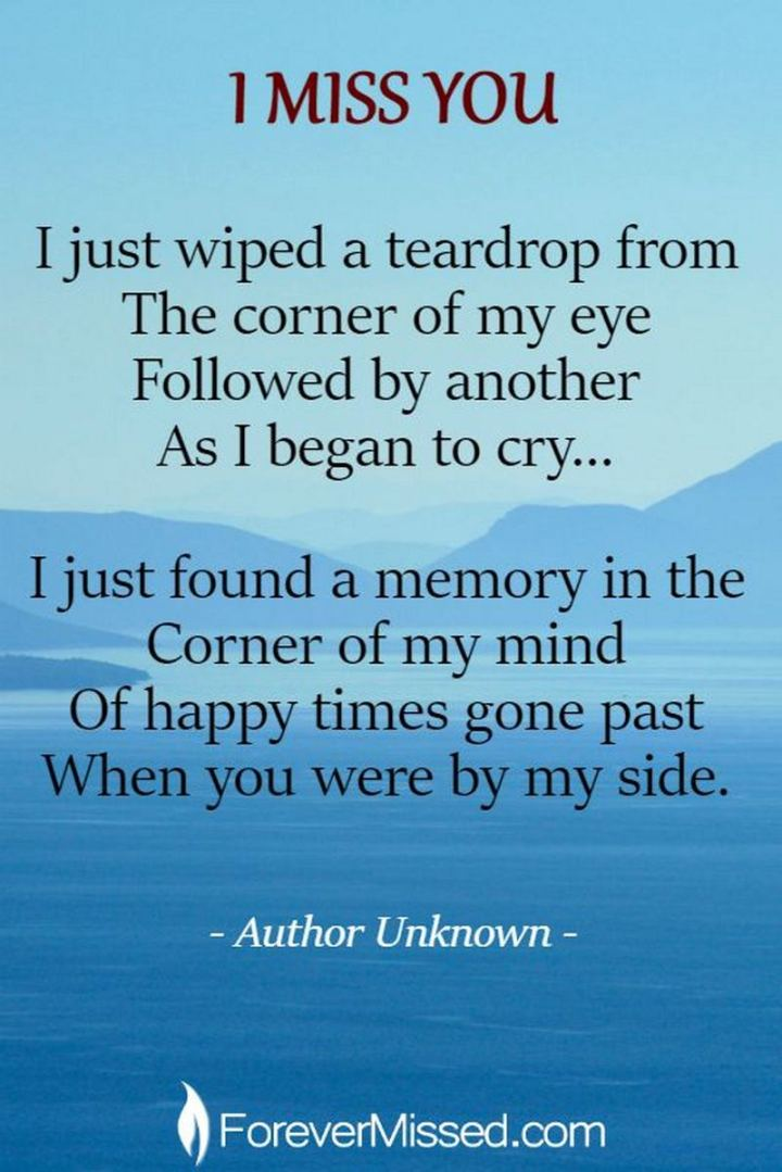 "77 ""Thinking of You"" Memes - ""I miss you. I just wiped a teardrop from the corner of my eye followed by another as I began to cry...I just found a memory in the corner of my mind of happy times gone past when you were by my side."" - Unknown"