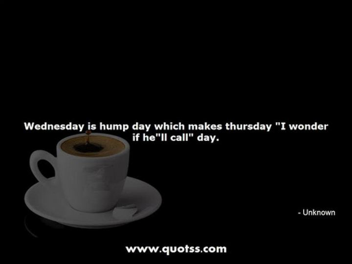 """51 Thursday Quotes - """"Wednesday is hump day which makes Thursday 'I wonder if he'll call' day."""" - Unknown"""