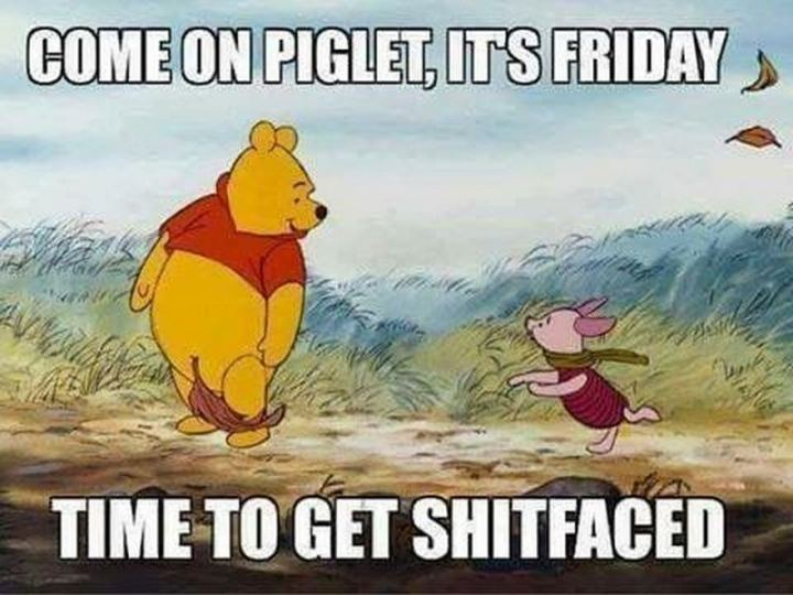 "55 ""Almost Friday"" Memes - ""Come on Piglet, it's Friday. Time to get shitfaced."""