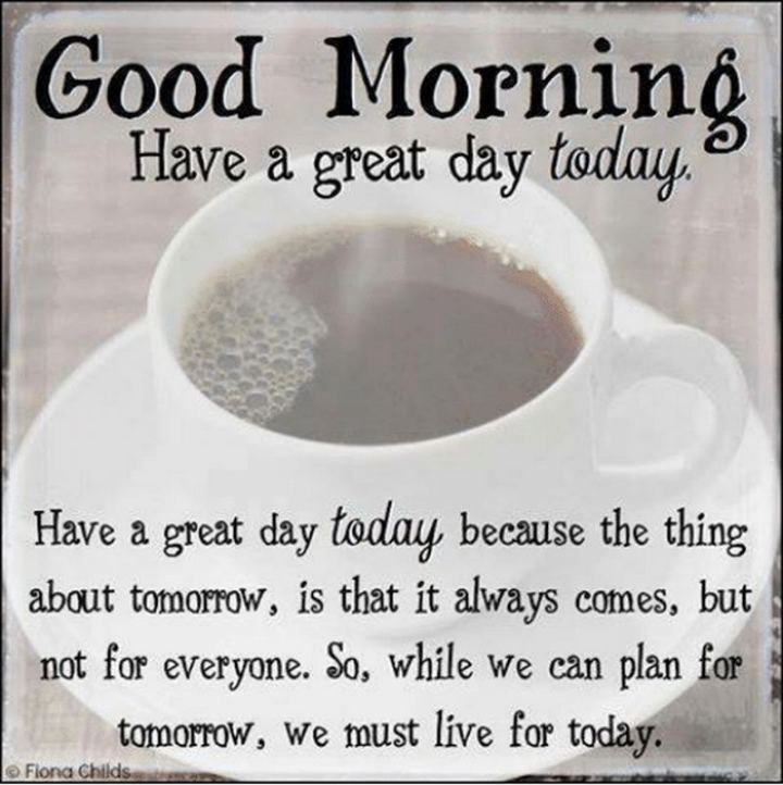 "101 ""Have a Great Day"" Memes - ""Good morning. Have a great day today. Have a great day today because the thing about tomorrow is that it always comes, but not for everyone. So, while we can plan for tomorrow, we must live for today."""