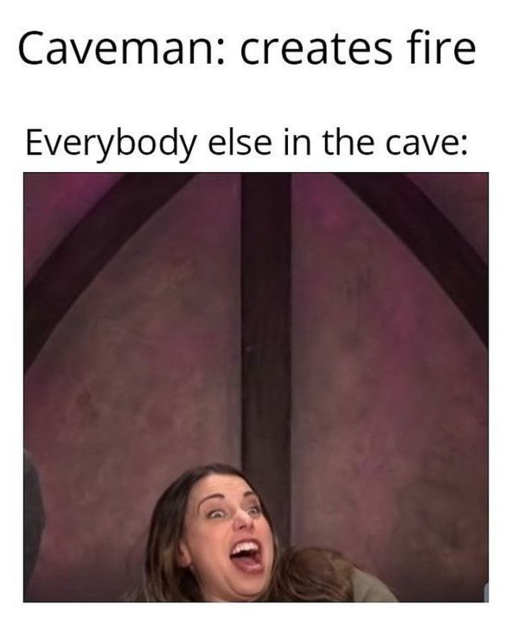 "55 Funny History Memes - ""Caveman: creates fire. Everybody else in the cave:"""