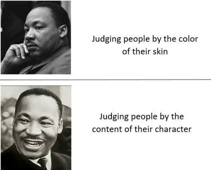 "55 Funny History Memes - ""Judging people by the color of their skin. Judging people by the content of their character."""