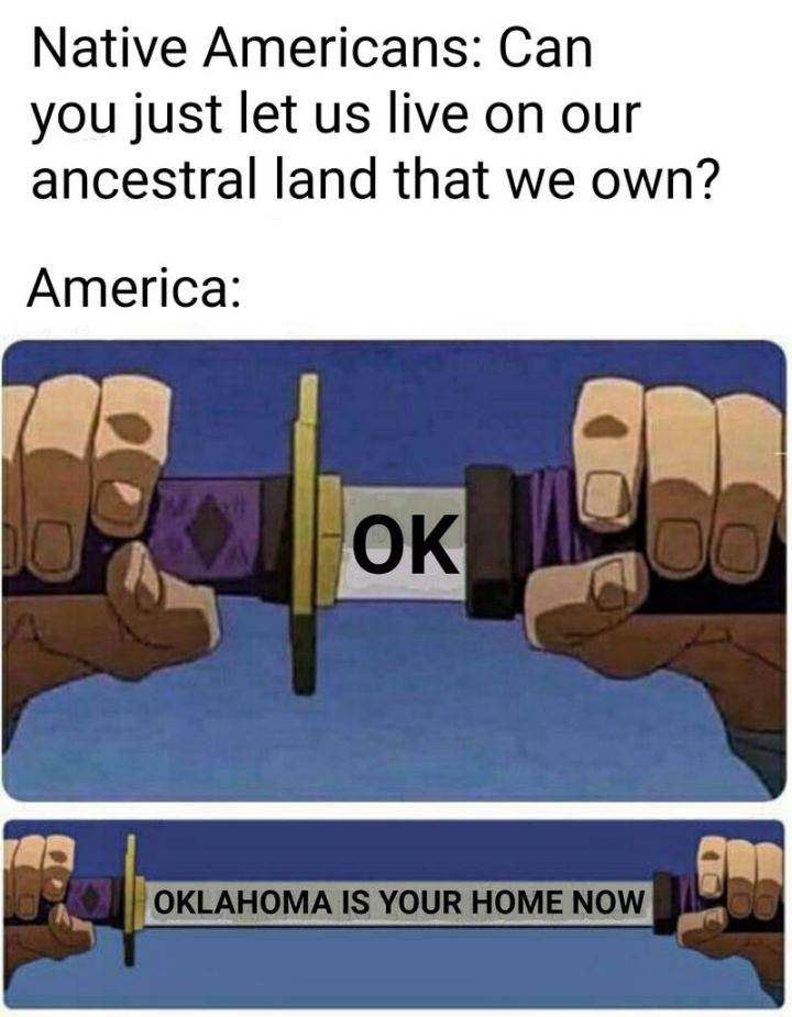 "55 Funny History Memes - ""Native Americans: Can you just let us live on the ancestral land that we own? America: OK. Oklahoma is your home now."""