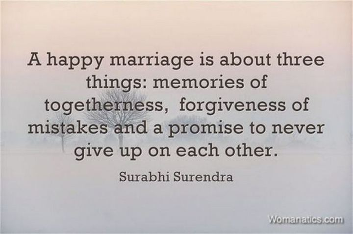 """A happy marriage is about three things: Memories of togetherness, the forgiveness of mistakes, and a promise to never give up on each other."" - Unknown"