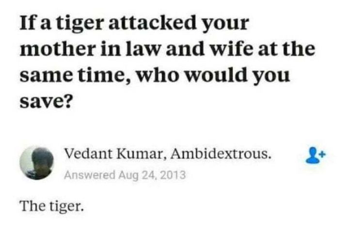 """If a tiger attacked your mother in law and wife at the same time, who would you save? The tiger."""