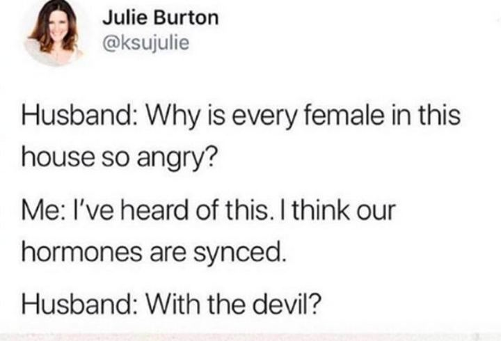 """Husband: Why is every female in this house so angry? Me: I've heard of this. I think our hormones are synced. Husband: With the devil?"""
