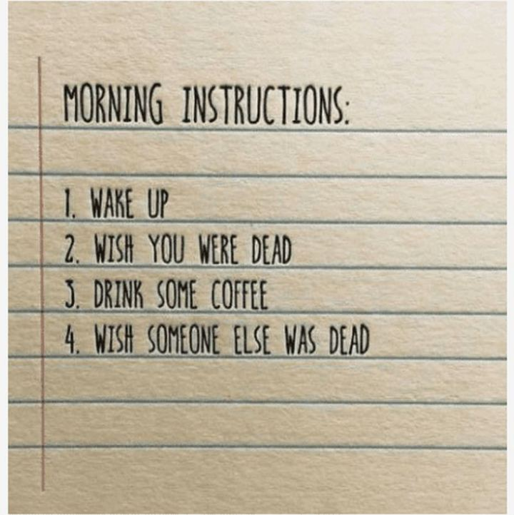 """Morning instructions: 1) Wake up. 2) Wish you were dead. 3) Drink some coffee. 4) Wish someone else was dead."""