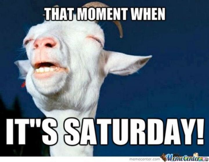 """That moment when it's Saturday!"""