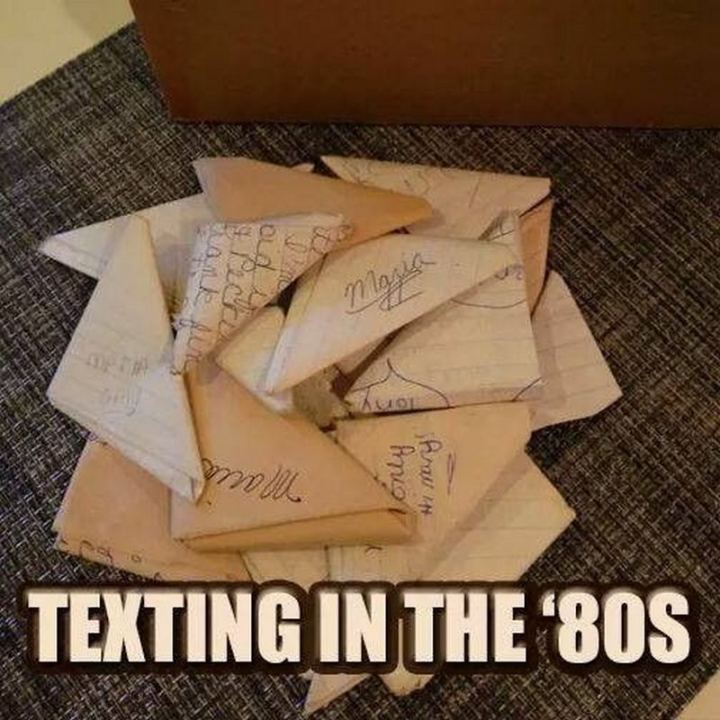 """Texting in the '80s."""