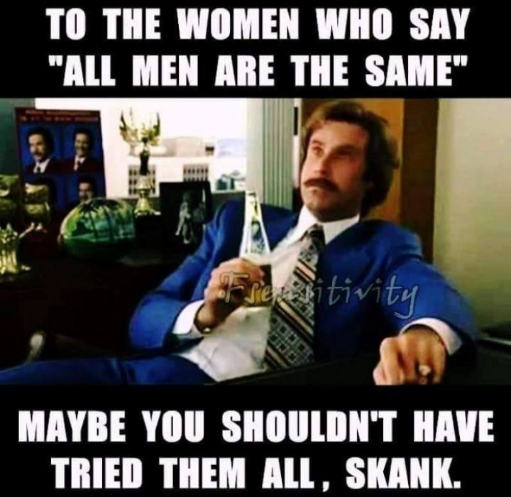 """To the women who say, 'All men are the same,' maybe you shouldn't have tried them all, skank."""