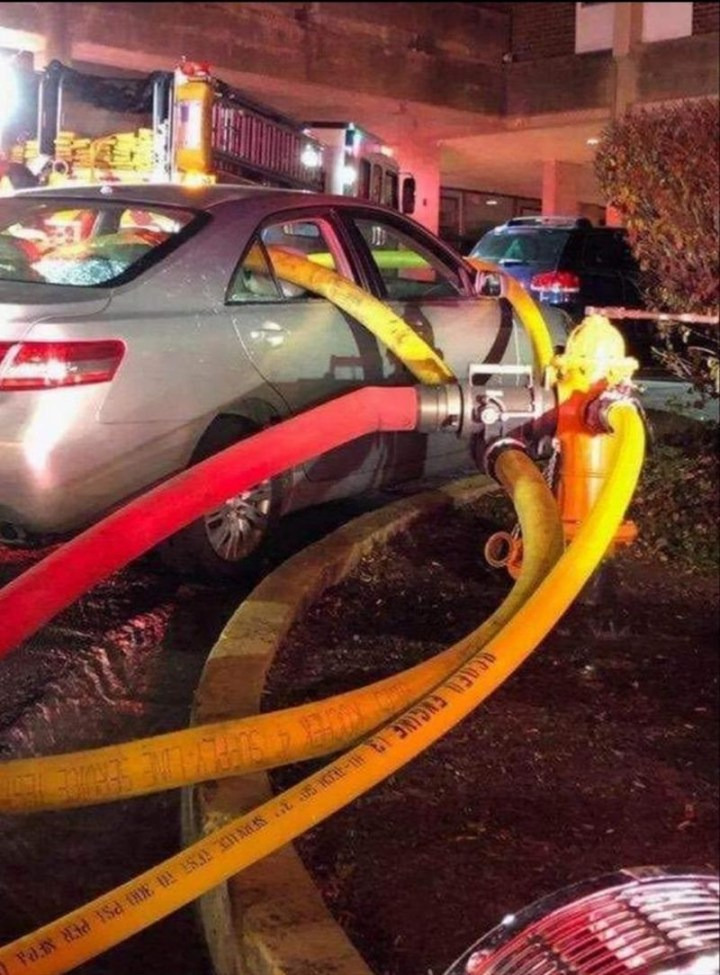"""This is a prime example of why you don't park in front of a hydrant."""
