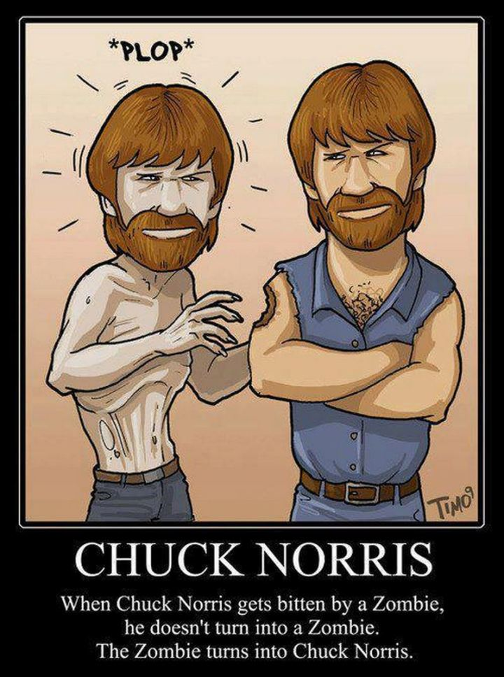 """When Chuck Norris gets bitten by a zombie, he doesn't turn into a zombie. The zombie turns into Chuck Norris."""