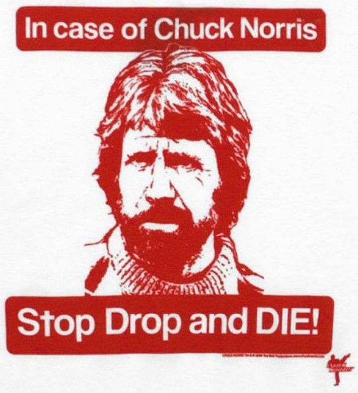 """In case of Chuck Norris, stop, drop, and die!"""