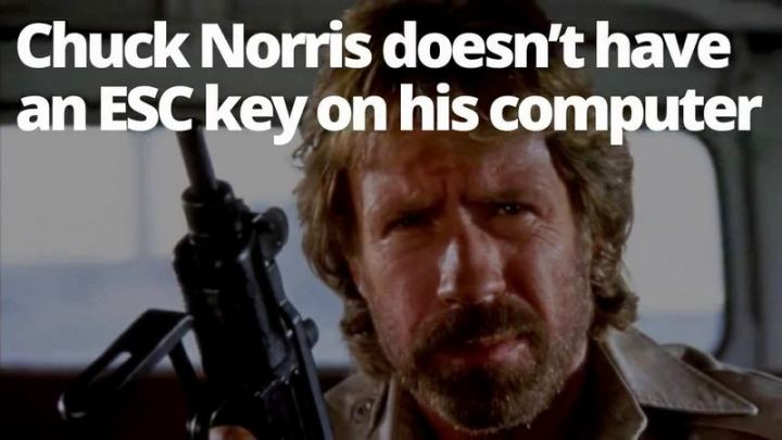 """Chuck Norris doesn't have an 'ESC' key on his computer."""