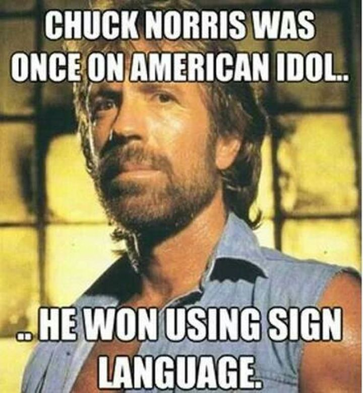 """""""Chuck Norris was once on American Idol...He won using sign language."""""""