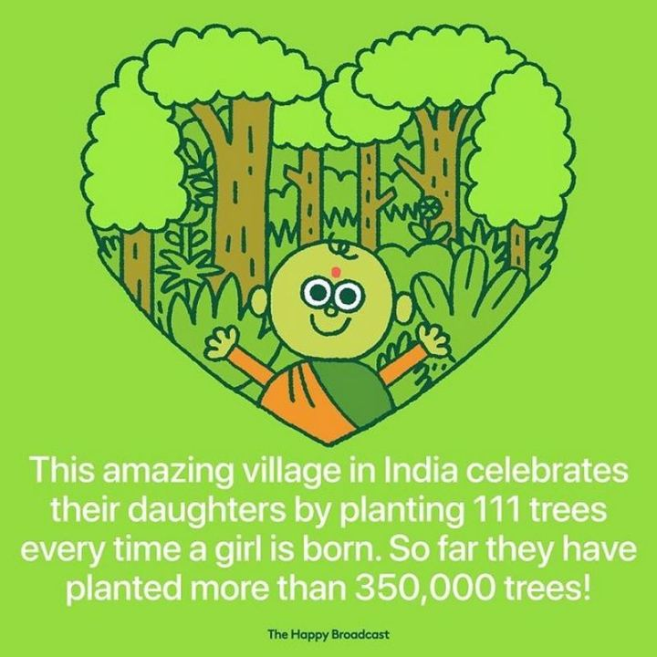 "The Happy Broadcast - ""This amazing village in India celebrates their daughters by planting 111 trees every time a girl is born. So far they have planted more than 350,000 trees!"""