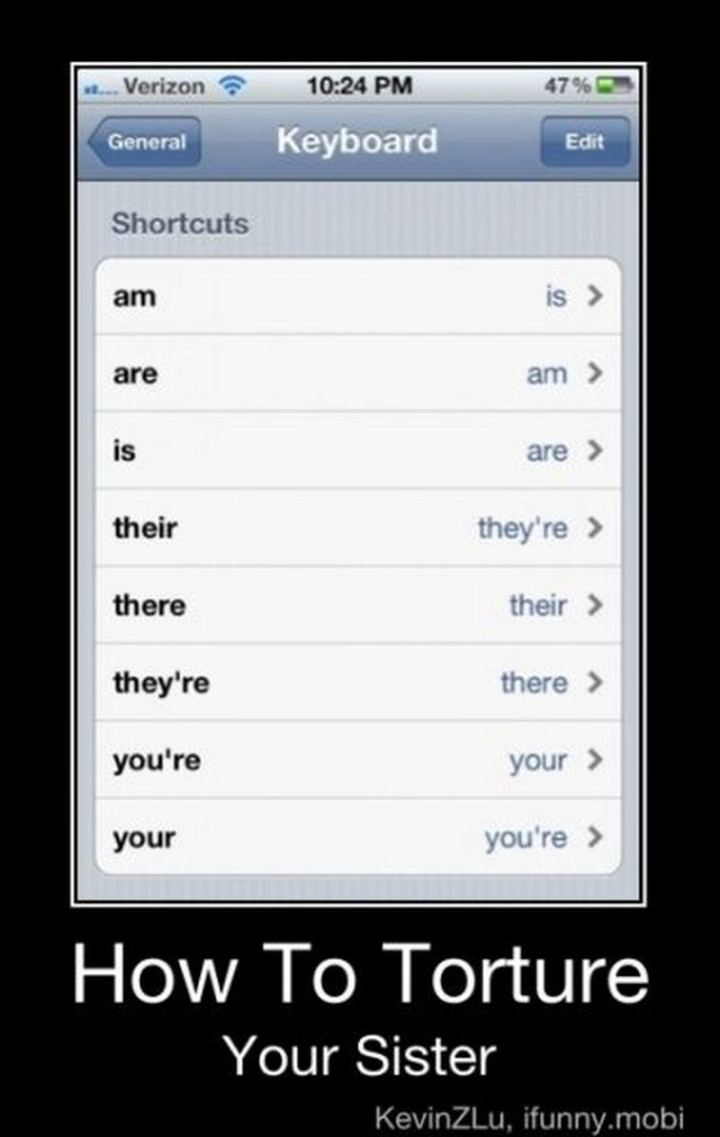 """57 Grammar Memes - """"How to torture your sister."""""""