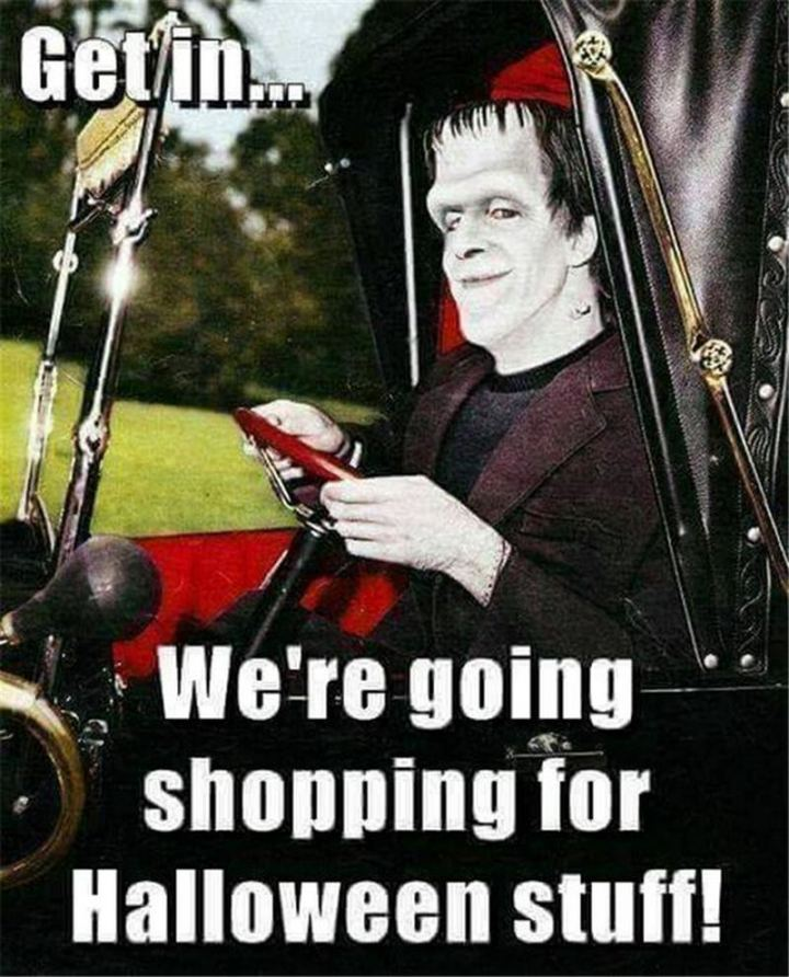 """Get in...We're going shopping for Halloween stuff!"""""""