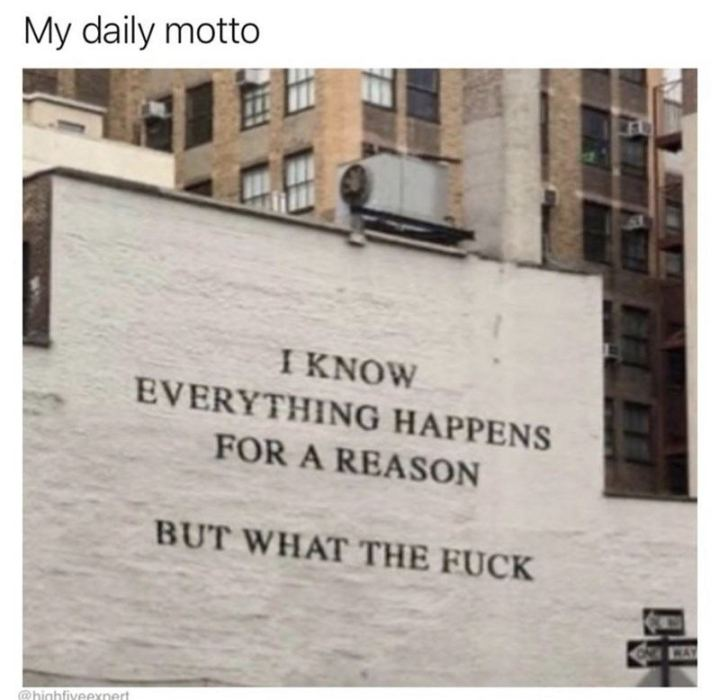 "43 Angry Memes - ""My daily motto: I know everything happens for a reason but what the [censored]?"""